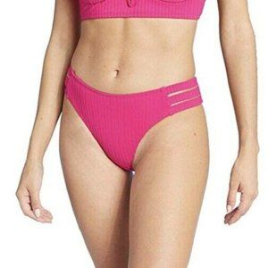 Womens Ribbed Cheeky Pink Strappy Bikini Bottom